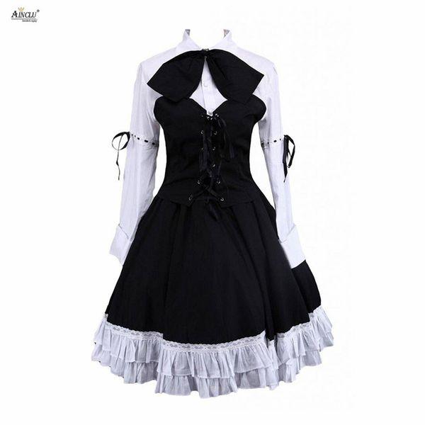 Lolita Robe Costumes Coton Blanc Manches Longues Blouse Lolita Et Jupe Noire Punk Mignonnes Filles Costumes Party Club XS-XXL