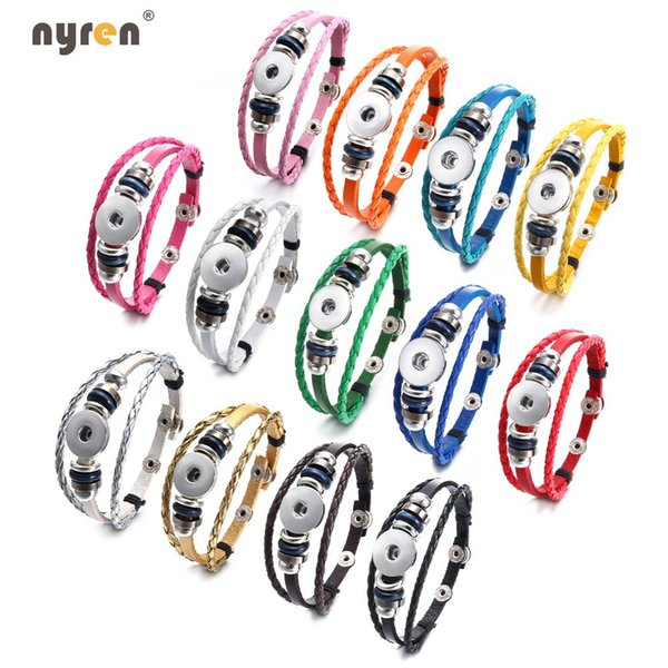 Wholesale 10pcs Multi Color Snap Charms Leather Bangle Bracelet Genuine Leather Bracelet DIY Noosa Bracelet Multi Color 20mm Snap Jewelry