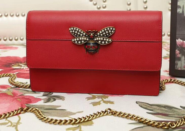 DHL Ücretsiz Nakliye, 5A 476079 W20cm Kraliçe Margaret mini çanta, inciler ve kristaller ile Metal arı, Kutu Toz Torbası ile