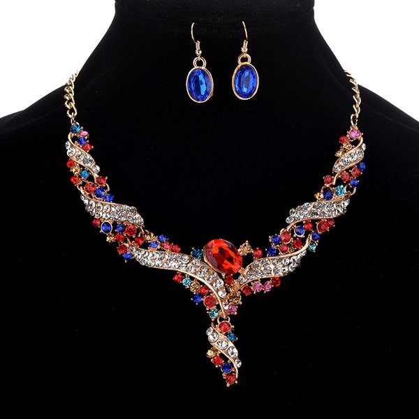 best selling Statement Jewelry Sets Rhinestone Necklace Earring Fashion Jewelry Crystal Chain Pendant Necklace Earrings Set Round Turquoise Jewelry sets