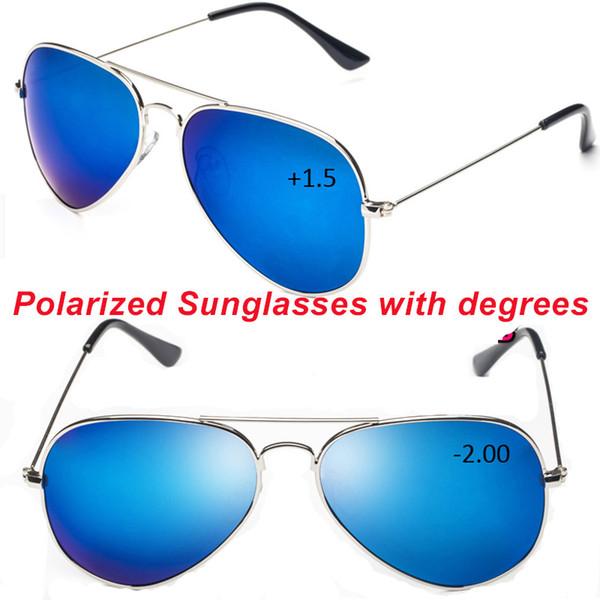 6c79942d7b861 Homens Mulheres clássico azul espelho POLZRIZED polaroid leitura ou miopia  óculos de sol -1 -