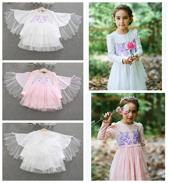 Baby girls unicorn wings dress children embroidery princess dresses 2018 autumn Boutique kids perform Dress Clothing MMA923 30pcs