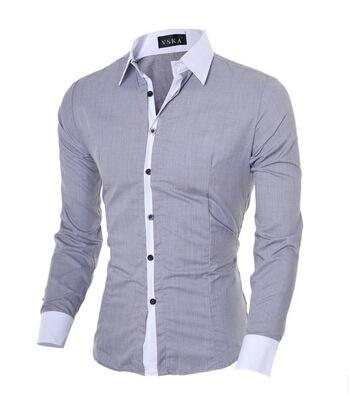 2017 Shirt Men Slim Casual Long-sleeved Single Breasted Shirt Solid Color Turn-down Collar Hit Color Large Size Men M-XXL