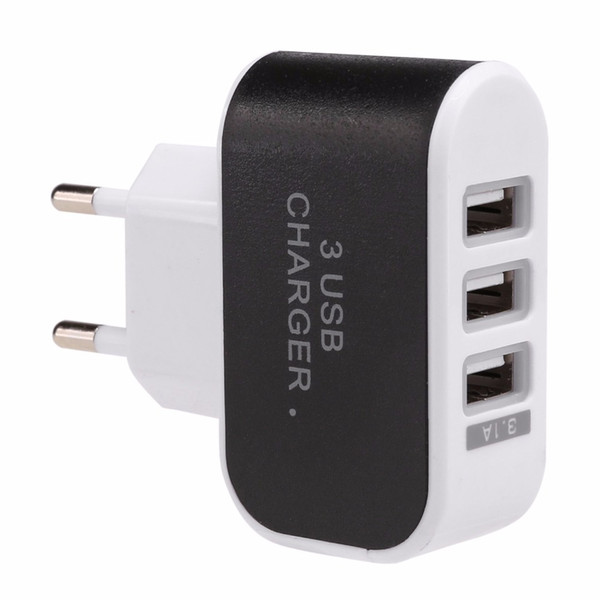 100pcs/lot 2018 3.1A Triple USB 3 Ports Wall Home Travel AC Charger Adapter EU Plug for Cell phones MP3 player Battery charger Hot Pink