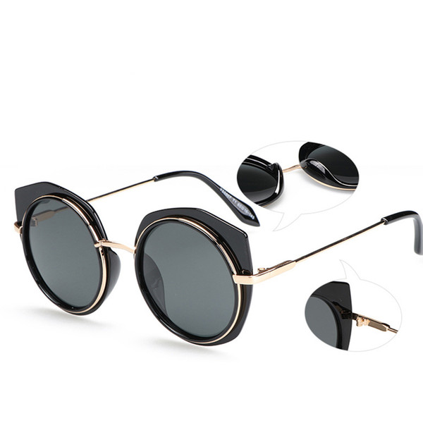 Luxury sunglasses Women and Men Fashion Visor Sun Glasses Round Metal Irregular Border Couple UV 400 Polarized Sunglasses