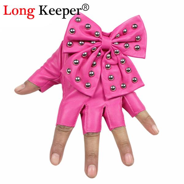 Guanti da donna da sera 2016 nuovi guanti semipilastri senza dita in pelle PU guanti da dito mezzo dito donna danza G-082