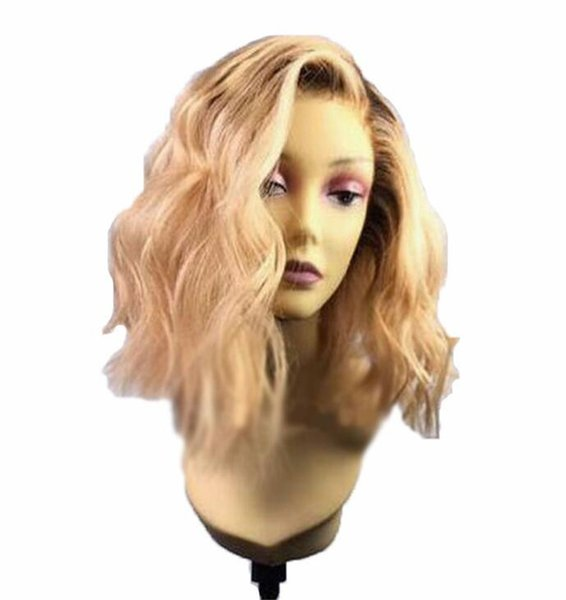 Body Wave Full Lace Wig Peruvian Remy Hair 150 Density Ombre Color Side Part 14 Inches Human Hair Wig for Black Women