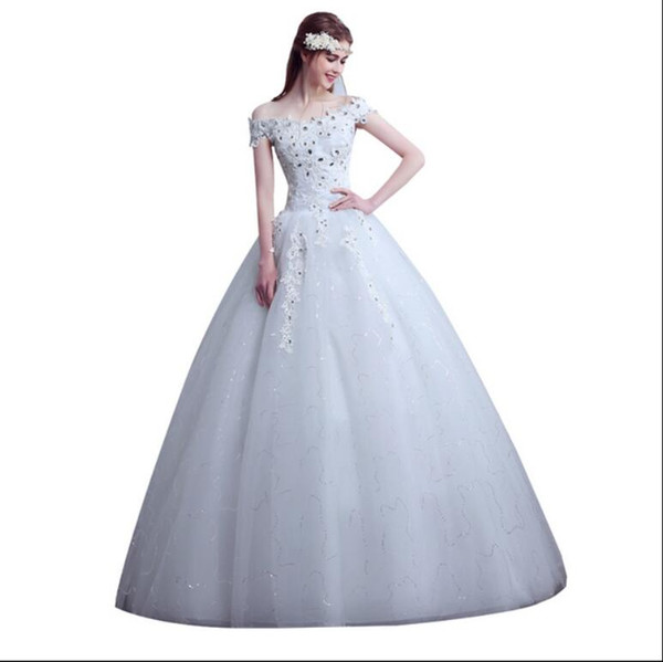 Simple Wedding Dress Boat Neck Bridal Gowns Vestido De Noiva Brautkleid Robe De Mariage Gelinlik