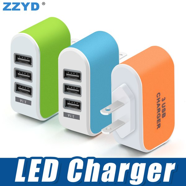 best selling ZZYD 3 USB Wall Charger LED Travel Adapter 5V 3.1A Triple Ports Chargers Home US EU Plug For Samsung S8 Note 8 iPX