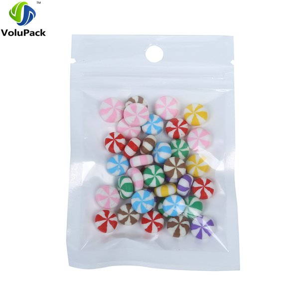 100pcs/lot White Clear Zip lock Candy coffee bean packing Hang Hole translucent plastic zippper bags 7x10cm (2.75x4in)