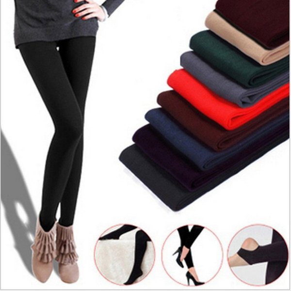 Warm Women Winter Leggings Thick Fleece Stretch Skinny Pants Trouser Footless Elastic pantyhose Leggings Pants CNY476