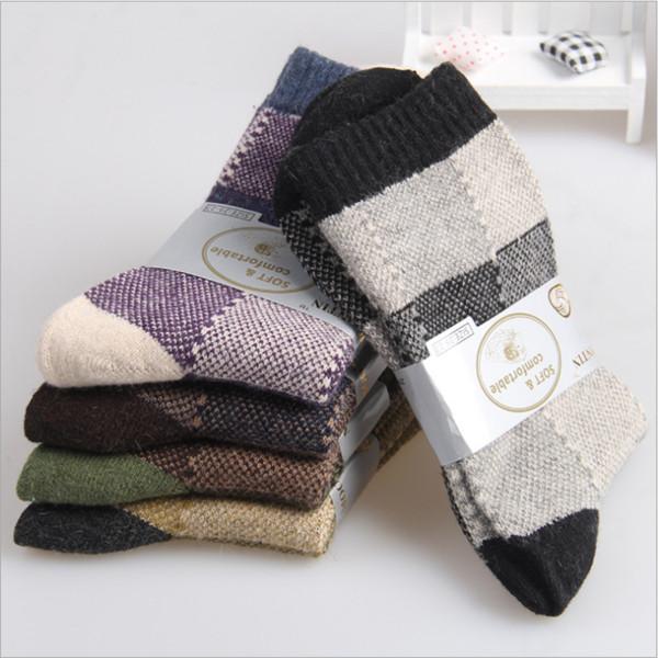 Erkek sonbahar kış termal yumuşak çorap kalın çizgi patchwork çorap ulusal tarzı sıcak satış (nw284)