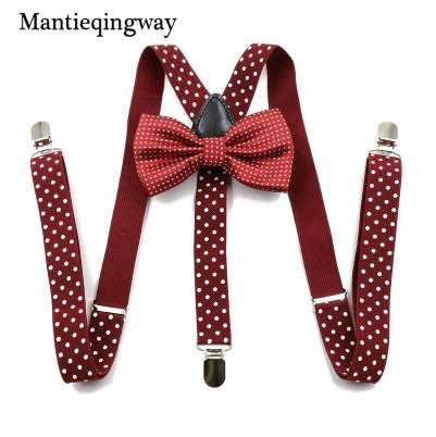 Mantieqingway Unisex Dot Adjustable Y Back Suspenders Bowtie Set For Men And Women Fashion Shirt Elastic Braces Women Belt Ties