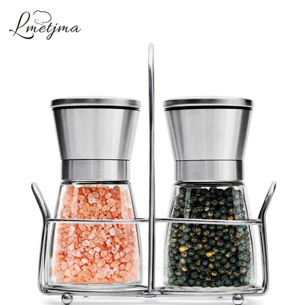 LMETJMA Premium Pepper Mill Set Stainless Steel Pepper Grinder With Stand Salt Pepper Shakers with Adjustable Coarseness LK0004 Y18110204