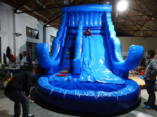 Juego inflable del agua del nuevo diseño / tobogán acuático inflable comercial de la piscina con el ventilador libre del CE