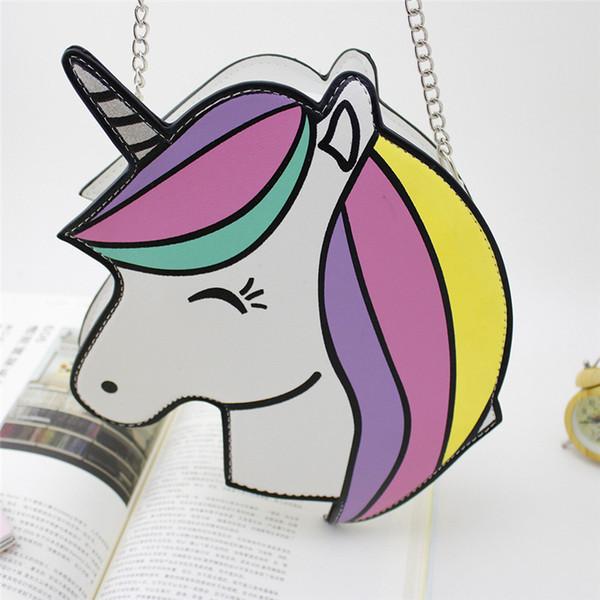2018 Fashion Personality Lovely Cartoon Unicorn retro clutch evening bag Laser Unicorn shoulder messenger bag cross-body
