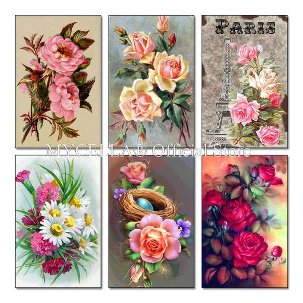 Compre 5d Pintura Diamante Bricolaje Flor Fluorescente De Color ...