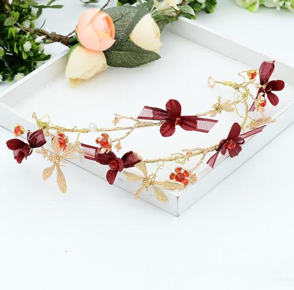 Bridal accessories, Red Butterfly Hoop headwear, wedding dress accessories, Baroque hair accessories