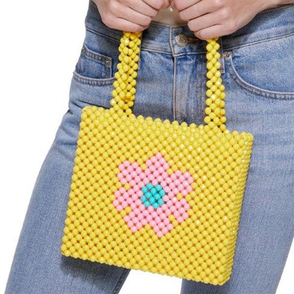Beading Candy Color Handmade Woven Pearls Bags for Women Handbags Beaded Bags Brand Leopard Cherry Beaded Shoulder Bag Bolsa Ins