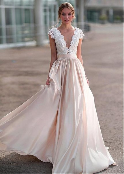 Beach Bridal Gowns Custom Made Gorgeous Lace Applique Wedding Dresses Illusion Plunging neckline Country Wedding Dress