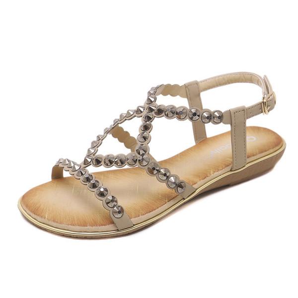 Fashion Designer Woman Sandals Rhinestone Hasp Metal Comfortable Shoes Summer Beach Sandals for lady wedding shoes
