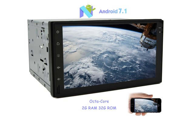 Double 2 din Android 7.1 Nougat Octa-Core GPS Car Stereo 2G RAM+32G ROM NO-DVD MP3 Player In dash Radio Bluetooth Wifi 7''Capacitive