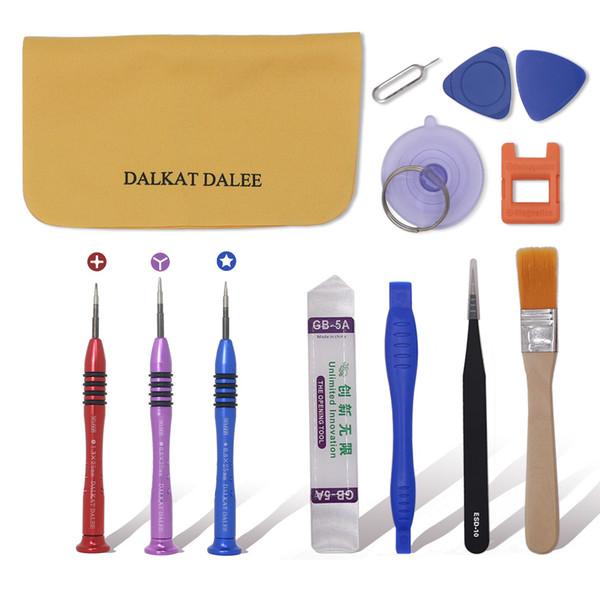 Kits de réparation 13 en 1 outils de levier d'ouverture de qualité supérieure avec kit de tournevis en alliage titane Pentalobe Torx Y Star pour iPhone 5 6 6S 7 8 Plus X