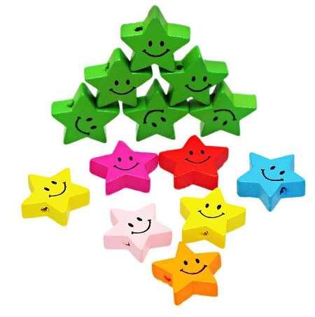 Yeni Gülümseme Yıldız Ahşap Boncuk Spacer Boncuk DIY Takı Yapımı Için Kız Için Renkli DIY Bulguları Rastgele Renk 19.7x18.6mm