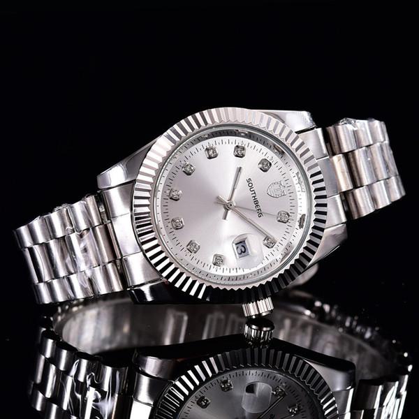 top popular Stainless Steel Bands Men Two Date Watch Women Wristwatch Quartz Watch Clock Fashion Watches 2019
