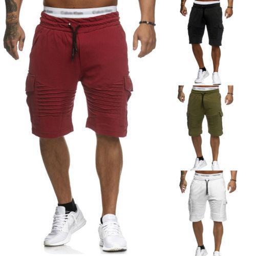 2018 New Mens Half-Length Sports Pants Fitness Training Jogger Running Slacks Pleated Solid Loose Soft Cotton Sports Pants 3XL