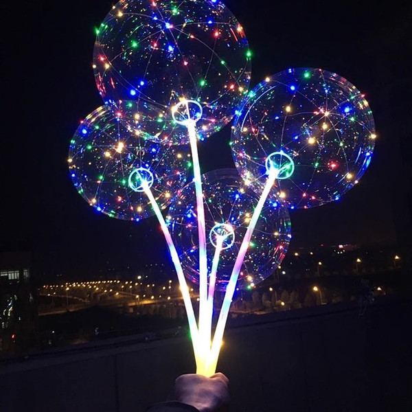 best selling BOBO Balloon with Stick Colored Light Luminous Clear Transparent LED Balloons for Wedding Christmas Home Decorations Helium Air Ball