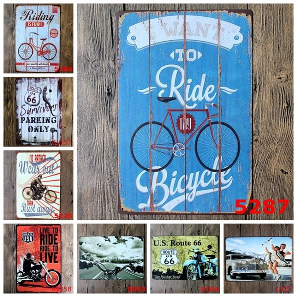 Metal 20 * 30 cm Carteles de chapa Quiero montar bicicleta Motocicleta Cartel de estaño Ruta de los Estados Unidos 66 Pinturas de hierro Para pared 3 99lji BB