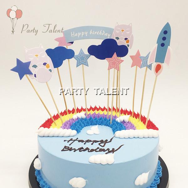 Acheter Owl Et Rocket Birthday Cake Toppers Pour Enfants Enfants Anniversaire Diy Gateau Decoration 6 12 Pouces Accessoire De 22 96 Du Sophine12