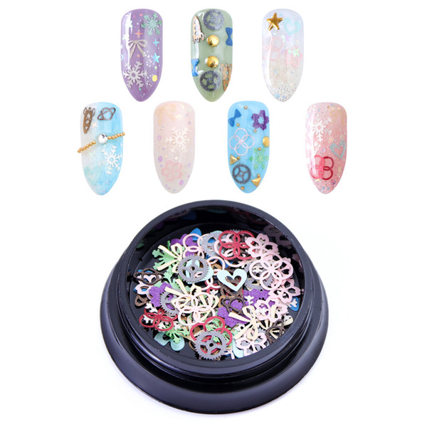 1 caja Mixed 3D Nail Art Decoration Slices Thin Sequins Glitter Hollow Flower Heart Sweet Design Tips Manicura UV Gel Polish DIY Nuevo
