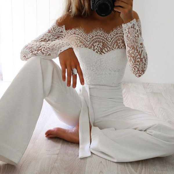 top popular Women Summer Jumpsuit Sexy Off Shoulder Long Sleeve Women Bodysuit Full Length Lace Patchwork Bodycon Rompers Womens Playsuits 2020