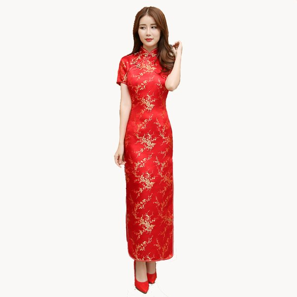 Red Chinese Women Dress Vintage Satin Qipao Sexy Long Slim Cheongsam Hot Sale Flower Dress Size S M XL XXL 3X4XL 5XL 6XL