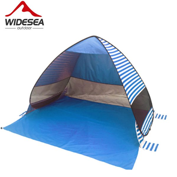 Widesea new pop up beach tent stripe beach sunshelter UV-protective quick automatic open fishing hiking and camping gazebo