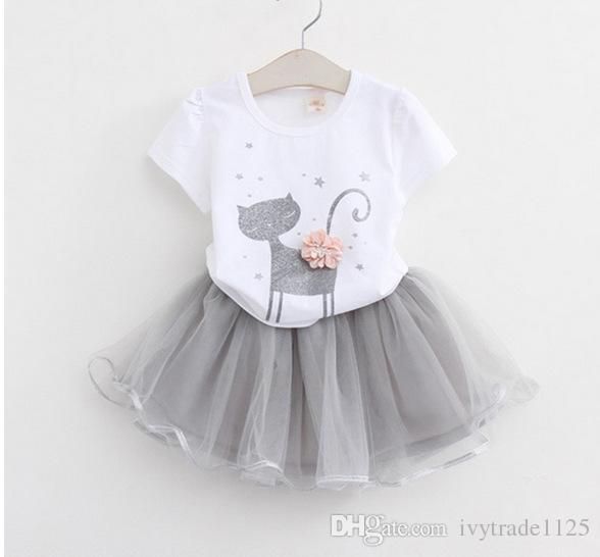 New girs Kids clothing 100%Cotton Sleeveless Cat Print girl's set causal summer girl Suspender shirt+ skirt kids clothing sets