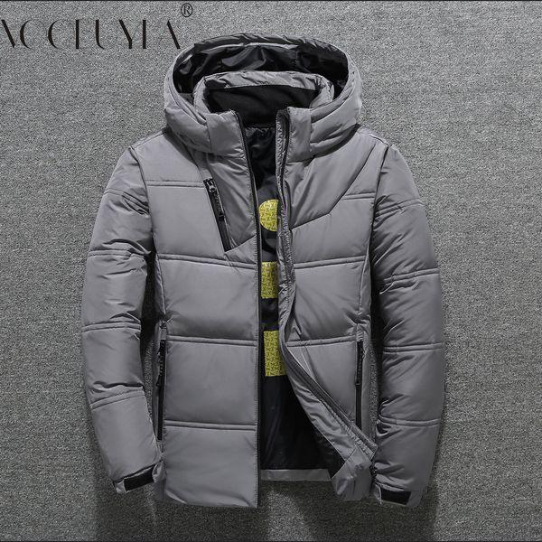 Voobuyla Men Winter Hooded Jacket 2018 New White Duck Down Coats Jackets Male Casual Plus Size M-3XL Short Down Parkas Hombre