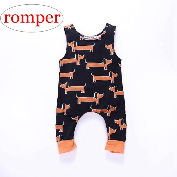 INS nouveau-né filles été combinaison enfants coton dessin animé chien impression Romper nourrisson une pièce combinaison 0-2ans