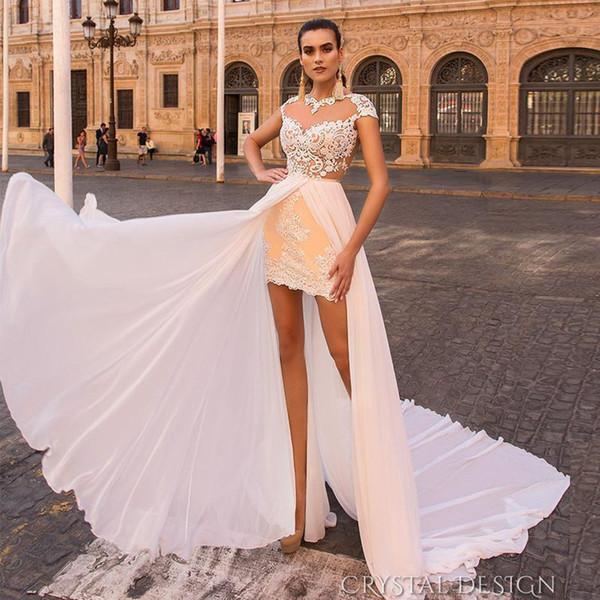 Vintage Sheath Beach Wedding Dress Detachable Train Lace Appliques Short Bridal Gown Chiffon Skirt Mini Summer Wedding Wears