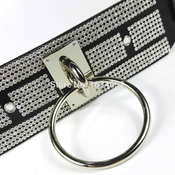 Girocollo in pelle Fetish elegante di lusso Oversize Large Band largo O-Round Collar Collana girocollo in puro cristallo 100% Handmade
