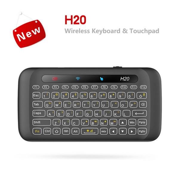 Mini tastiere wireless retroilluminazione con touchpad multi-touch H20 2.4G Fly Air Mouse telecomando per Android TV Box PC portatile HTPC IPTV