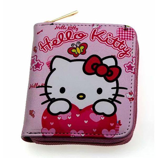 41e2c4976 Pink Girls Hello Kiy Coin Purse Women Leather Zipper Wallet Small Card  Holder Coin Pocket Gifts