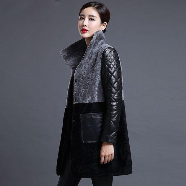 New arrival 2018 Winter Wool Fur Coat Women High Quality Long Jackets Fashion Warm Plus Size Leather Down Coat Outerwear M-4XL C18111401