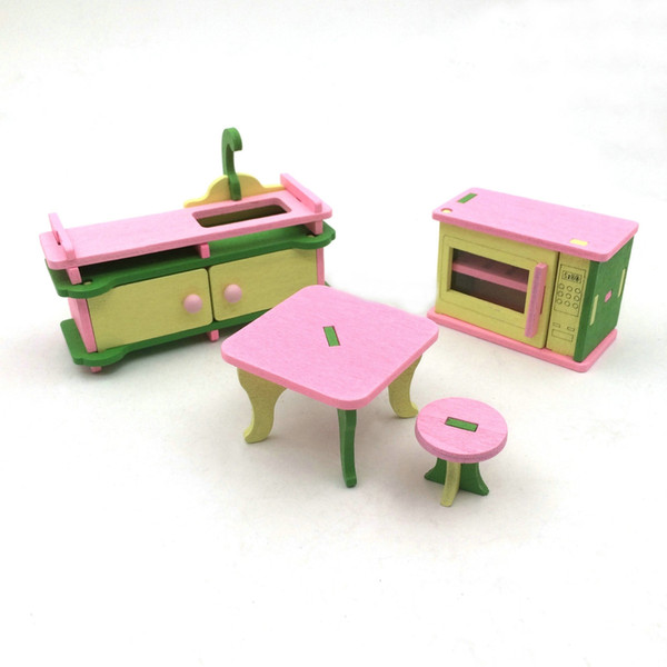 Simulated dining table kitchen home children's toys multi-colored wooden personality creative building blocks toy creative pendulum