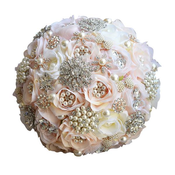 Ramo de la boda de cristal Champagne Rose Beads Flores de la boda Flores nupciales Holding Dama de honor ramo hecho a mano accesorios de broche al por mayor