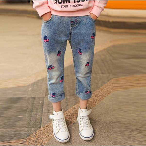 2017 Autumn New Style Girls Jeans Lovely Cherry Pattern Kids Jeans for Girls Casual Spring Children's Trousers Pants
