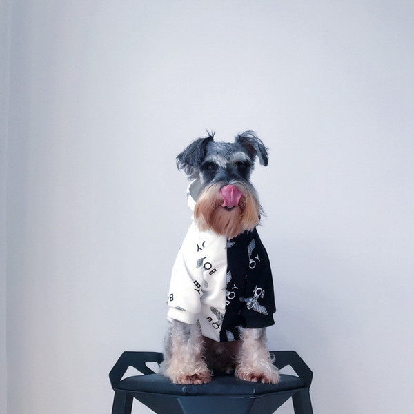 Luxury Brand Dog Apparel With Letters Color Blocking Hoody With Hats Dog Supplies Teddy Bulldog Schnauzer Apparel Pet Clothes