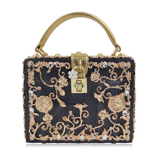 Luxus Box Form Tote Frauen Handtasche Marke Acryl Relief Schwarz Abend Handtasche Damen Prom Party Handtasche Schultertasche